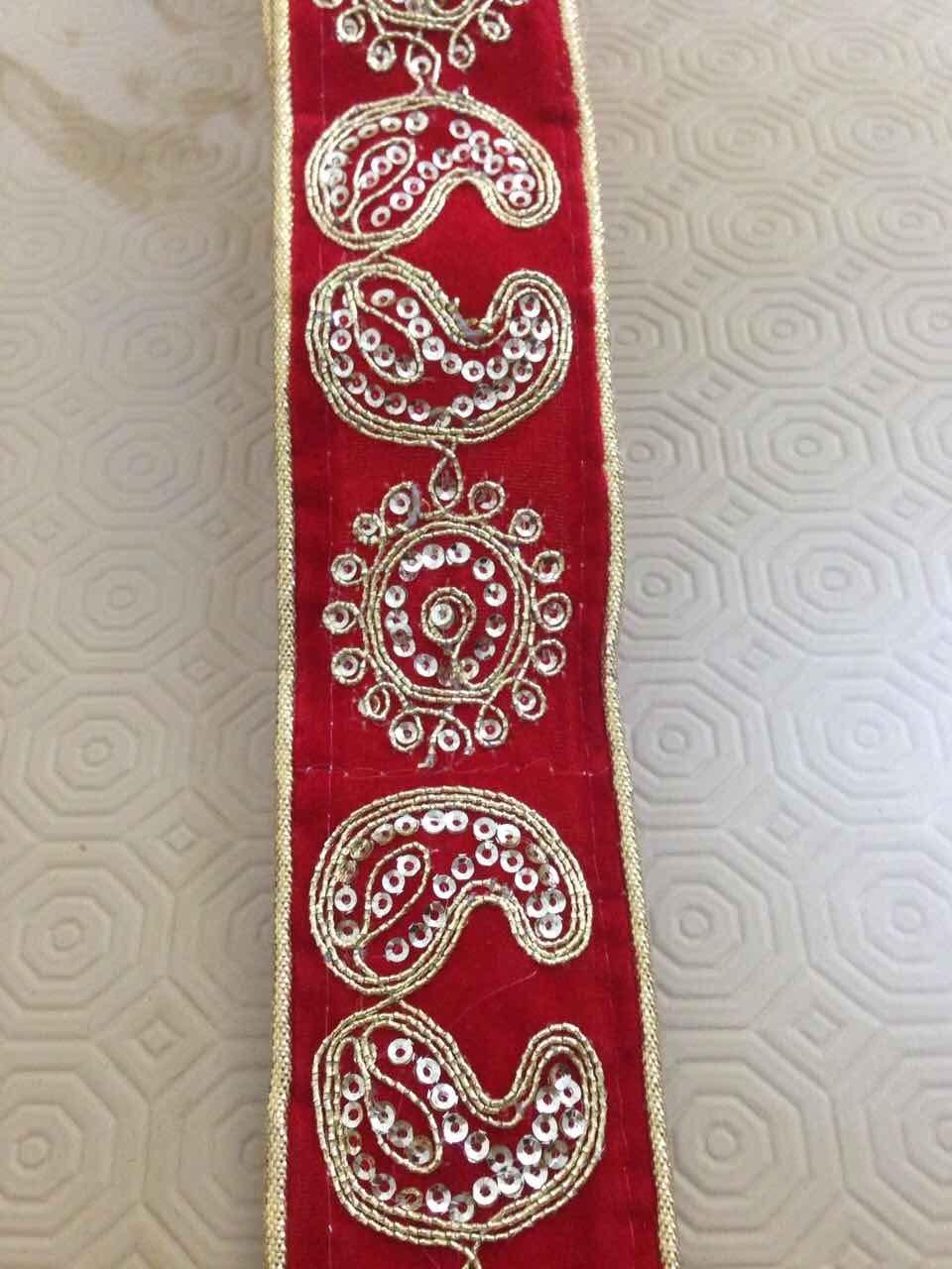 Fancy Gold Sequin Lace Trim Bridal Wedding Ribbon Craft Sari Border 4cm x 1Yard RED