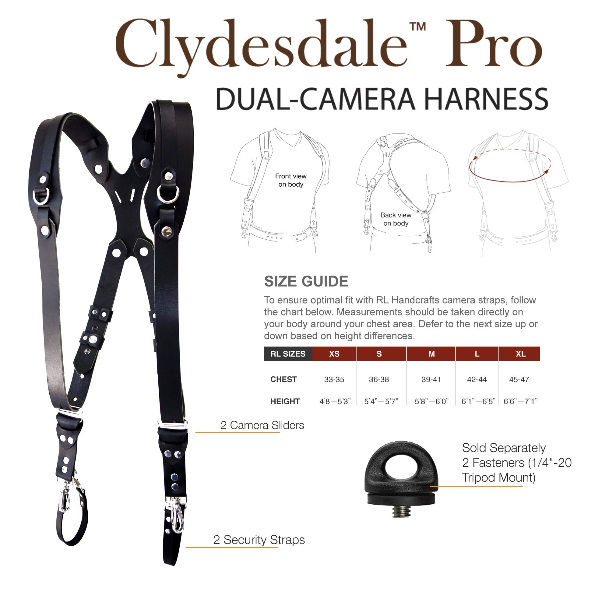 Clydesdale Pro-Dual Handmade Leather Camera Harness, Sling & Strap RL Handcrafts. DLSR, Mirrorless, Point & Shoot Made in The USA (Black, X-Large) by Republic Leather Company (Image #3)