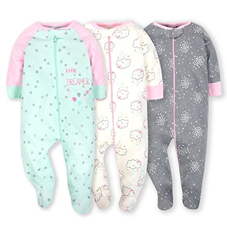 4e146ebd51 Gerber Onesies Baby Girl Sleep N Play Sleepers 3 Pack (Newborn ...