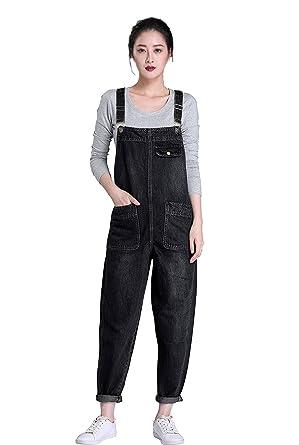 942edda18f9 Amazon.com  Soojun Women s Casual Baggy Denim Bib Overall  Clothing
