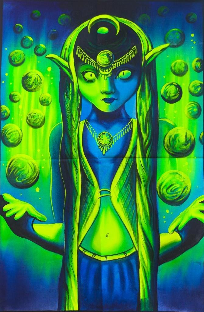 ImZauberwald Cosmic Elve UV Painting (39x60cm, Schwarzlicht aktiv) handgemalenes Painting psychedelic Goa Trance Party Dekoration 8