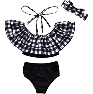 Baby Kids Girls Summer Ruffle Suspender Dot Printed Bikini Swimwear Swimsuit Set