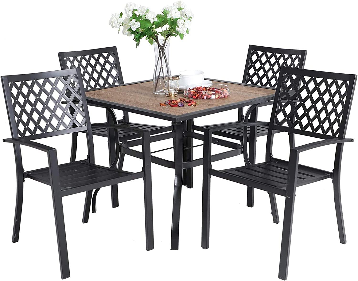 """Sophia & William 5 Piece Outdoor Patio Dining Set Metal Table and Chairs Set with 37"""" Wood-Like Table Top and Umbrella Hole"""