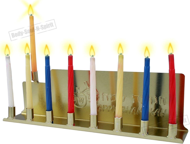 Happy Hanikke Menorah Juif Sainte Cadeau Tin Bougeoir casher Bougies d/éclairage