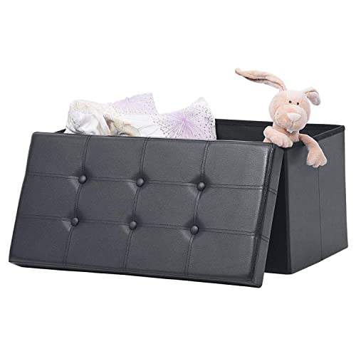 AuAg Folding Storage Ottoman Bench Faux Leather Toy Box Chest Living Room Seat Foot Rest Storage Organizer Easy to Assemble Black, 30