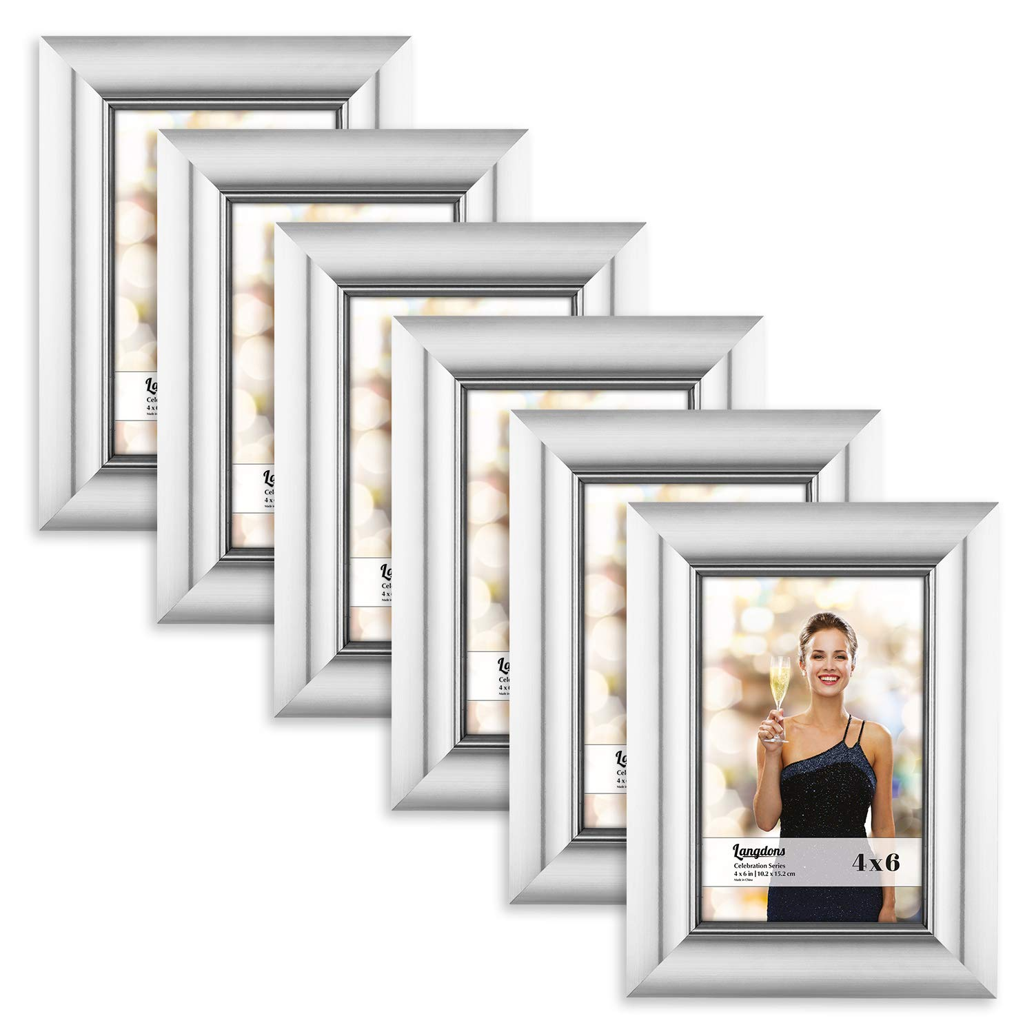 Langdons 4x6 Picture Frame Set (3 Pack, Champagne Picture Frame) Photo Frames 4x6, Wall Hang or Table Top Display, 4 x 6 Picture frame - Champagne Gold Picture Frame, Celebration Series