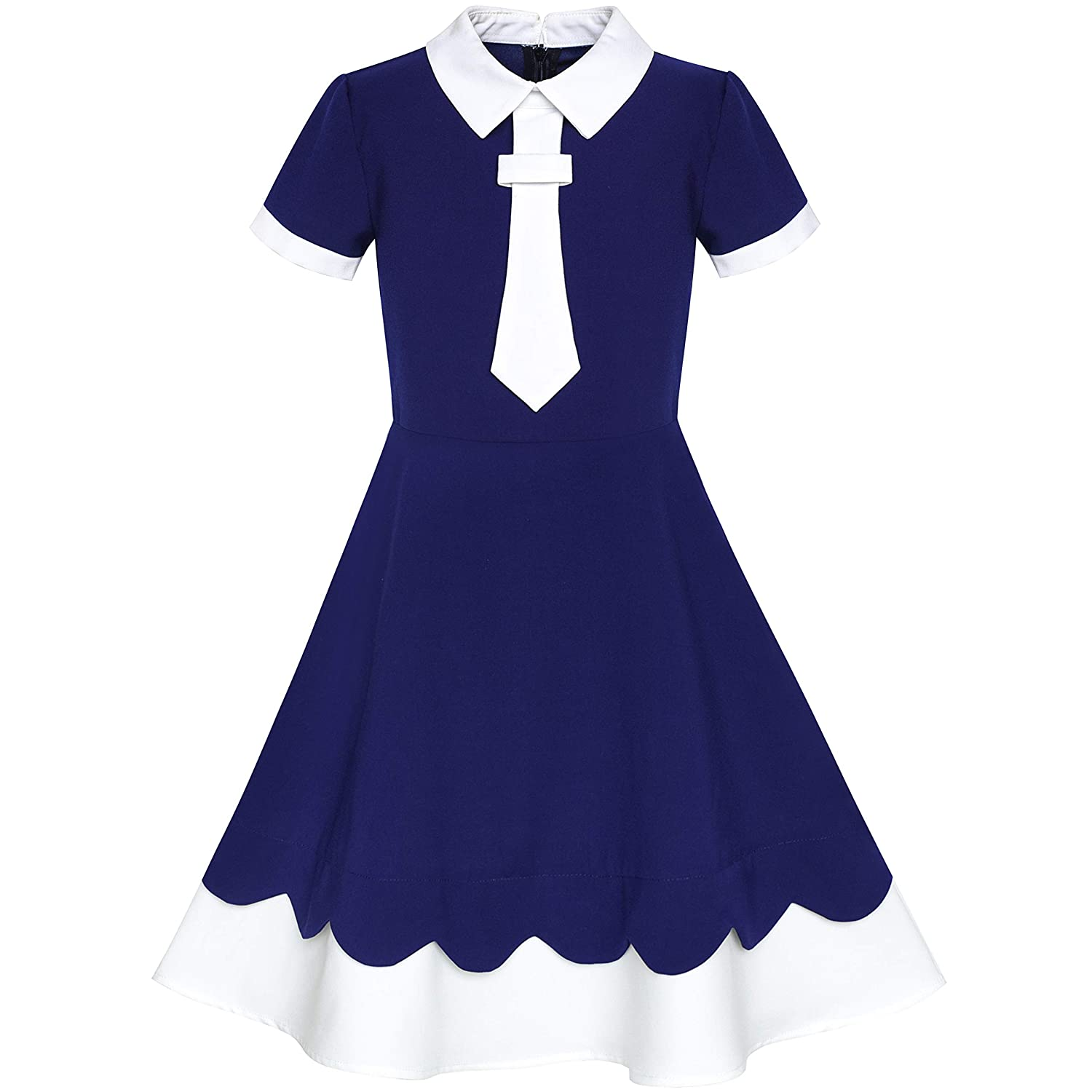 Sunny Fashion Girls Dress Back School Navy Blue White Collar Tie Short Sleeve