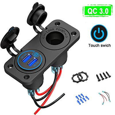 Quick Charge 3.0 USB Car Socket, Waterproof QC 3.0 Dual USB Car Charger with Touch Switch and One 200W Cigarette Lighter Adapter for Rocker Switch Panel on 12V/24V Car, Marine, Boat, Motorcycle, Truck: Home Audio & Theater