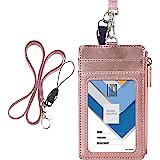 RFID Blocking,Badge Holder ID Window Card Holder Office Bus Cards Case with Key Ring SimpleLif Credit Card Holder Mens Women Slim Wallet