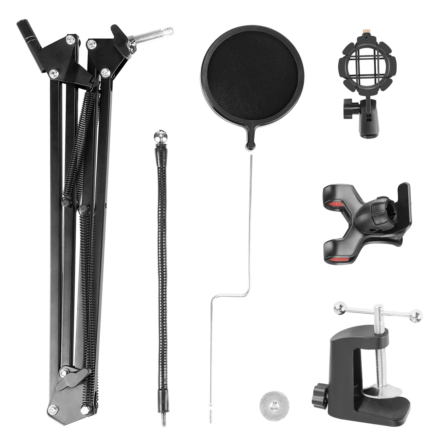 Neewer® Adjustable Recording Microphone Suspension Boom Scissor Arm Stand with Mic Round Shape Wind Pop Filter Mask Shield, Shock Mount and Phone Holder, black