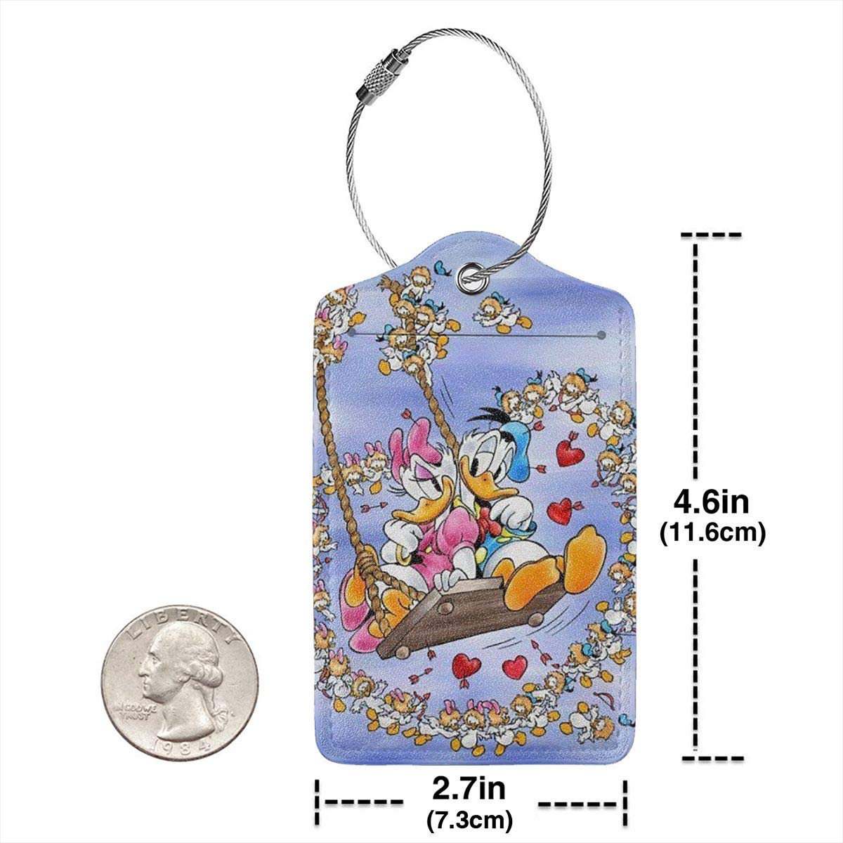 Suit For Travel,Vacation Fashion Donald Duck Couple Soft Leather Luggage Tags With Privacy Cover 1-4 Pcs Choose