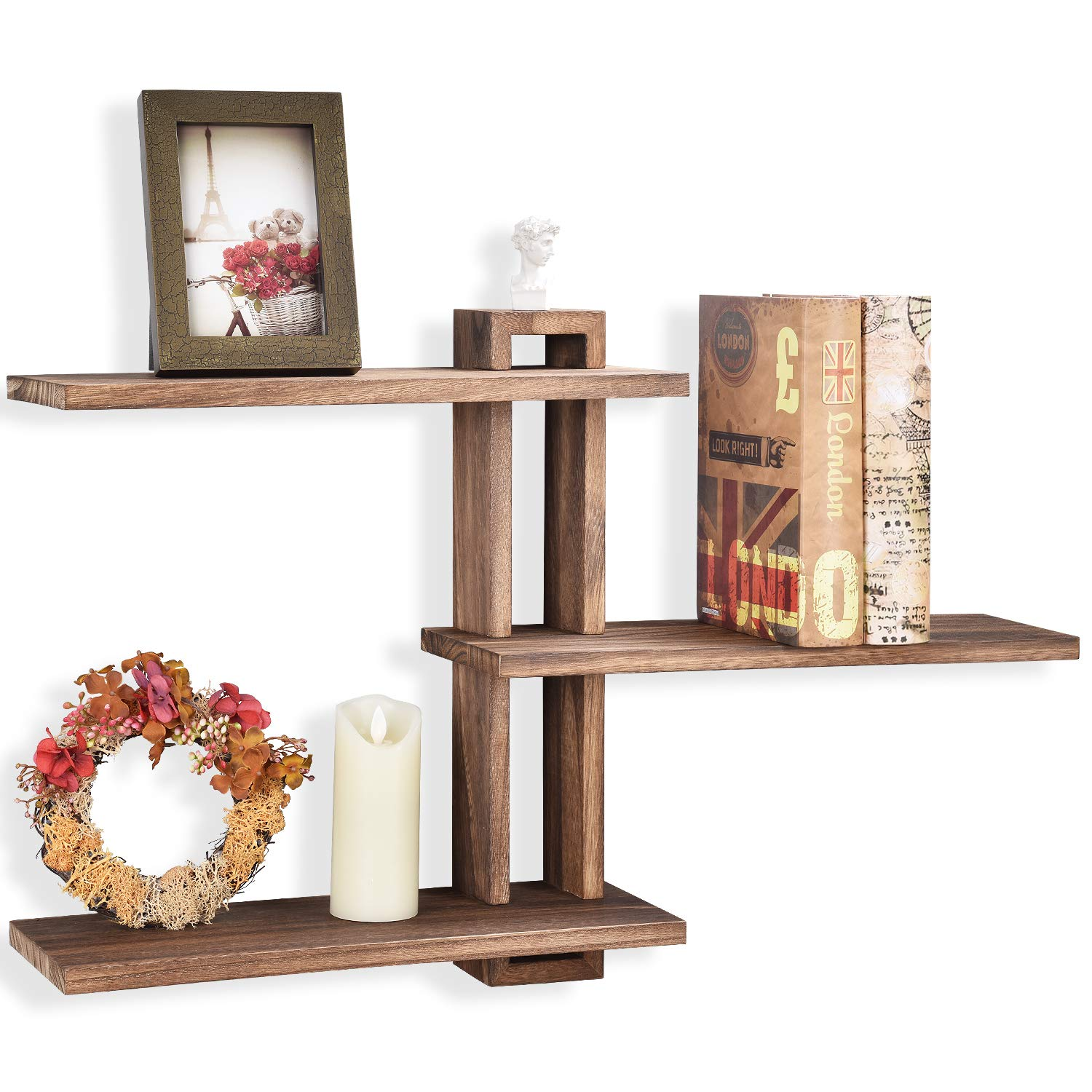 Emfogo Floating Shelves Wall Mounted Rustic Wall Wood Shelves 3 Tier for Decor and Storage at Bedroom Living Room Office