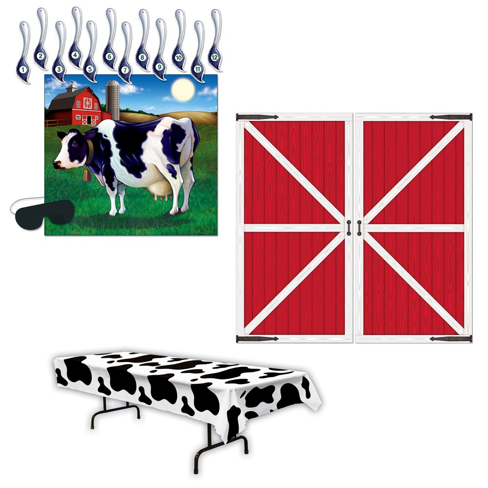 Pin the Tail on the Cow Game Barn Door Prop Cow Print Table Cover Bundle by TCS Party Bundles