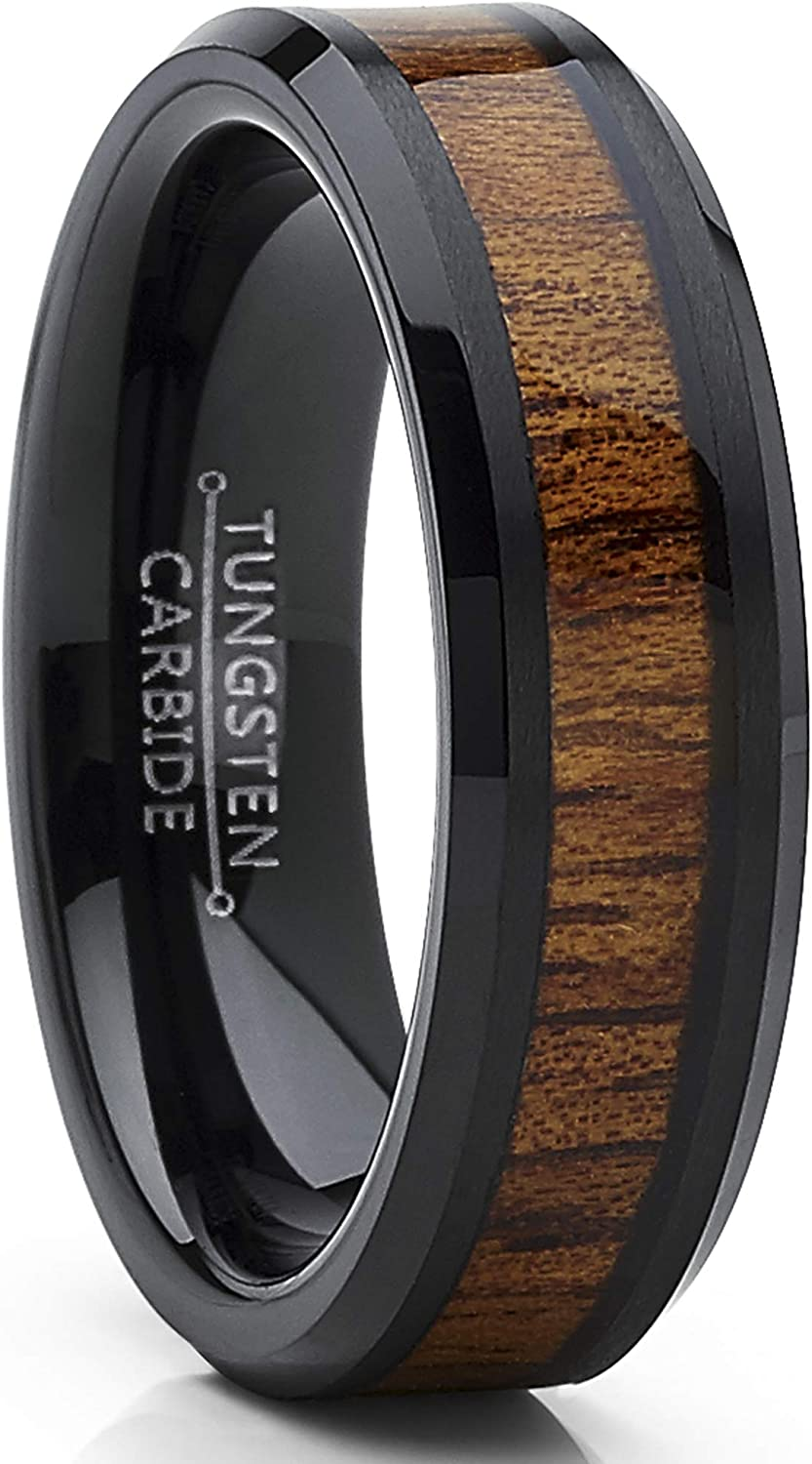 Metal Masters Co. Black Tungsten Carbide Wedding Band Ring, Real Koa Wood Inlay Men's Women's 6mm
