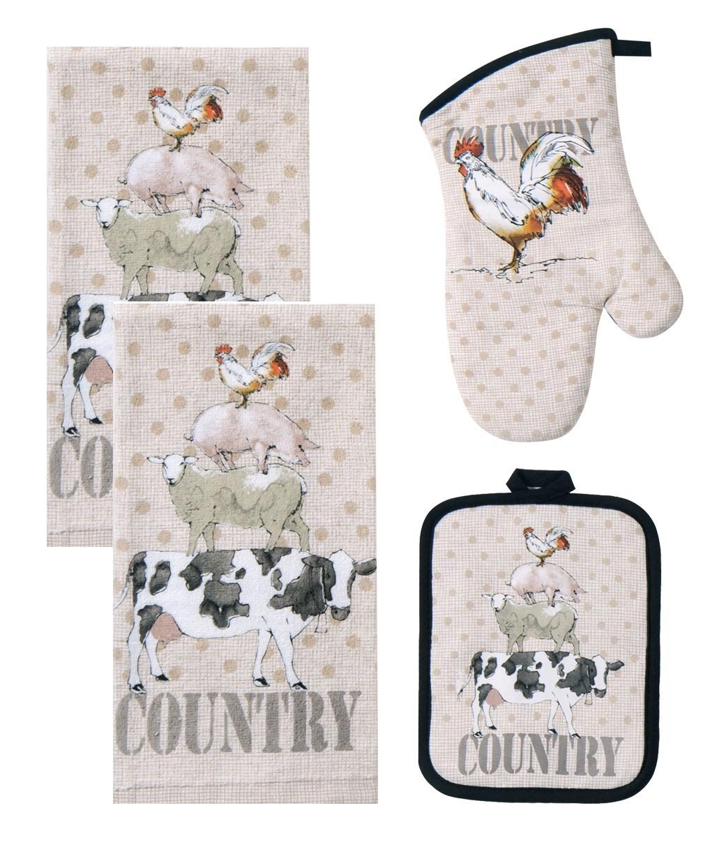 Kay Dee 4 Piece Farm Life Kitchen Bundle / Set - 2 Terry Towels, Oven Mitt, Potholder,Beige Kay Dee Designs COMINHKPR127710