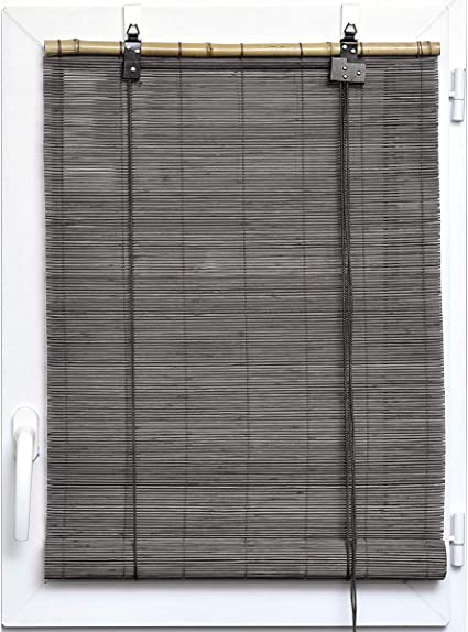 SunDeluxe Persiana de bambú enrrollable con Ganchos para Ventanas y Puertas, Color:Gris, Talla:40 x 180 cm: Amazon.es: Hogar