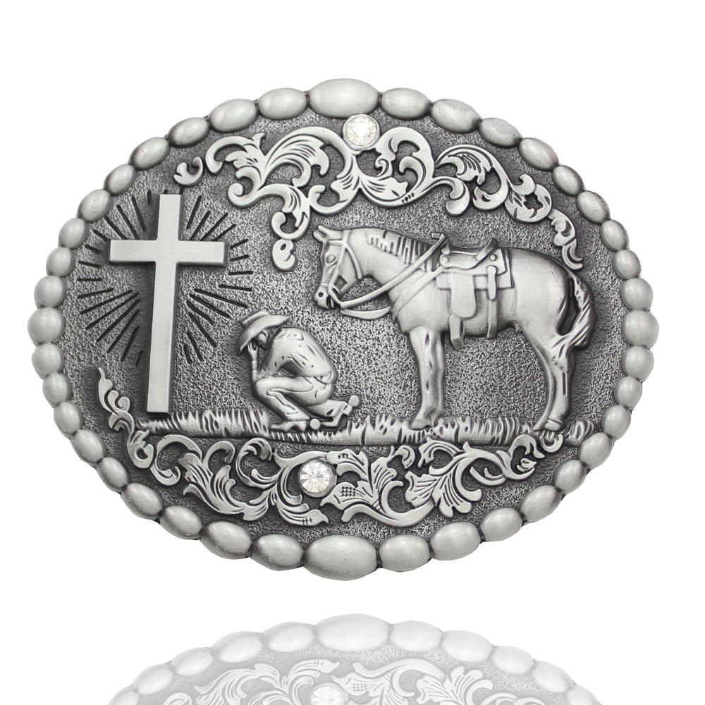 Q&Q Fashion Men Retro Silver Western Cowboy Prayer Cross Horse Oval Concho Scroll Belt Buckle 82045