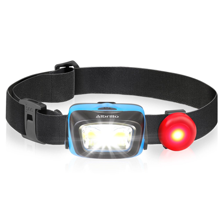 Albrillo Super Helle LED Stirnlampe, 90°Einstellbarer LED Kopflampe mit 5 Lichtmodi und Rotlicht, Ideal für Camping, Joggen und Lesen [Energieklasse A++] Ideal für Camping