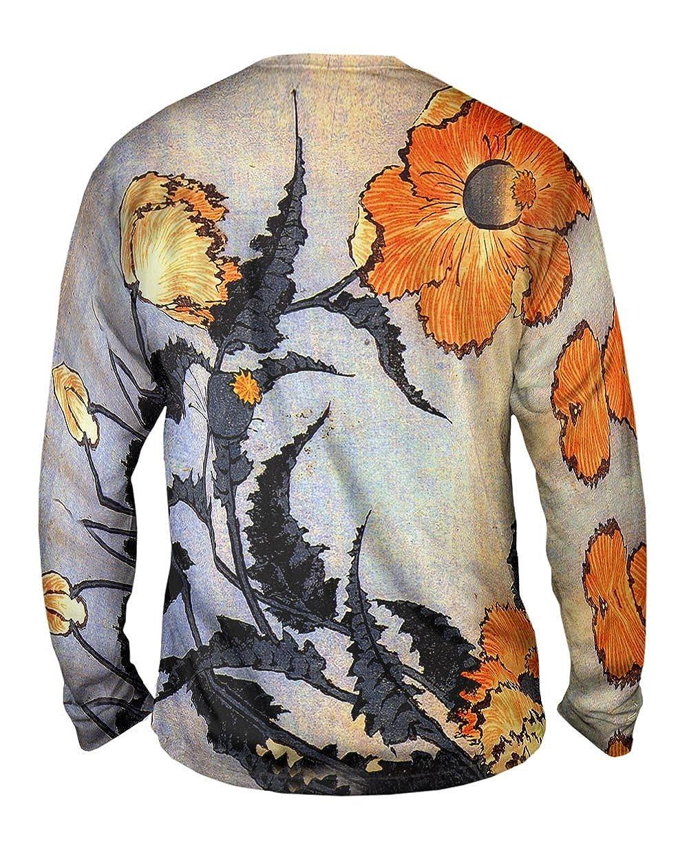 TShirt Mens Long Sleeve Yizzam Katsushika Hokusai Poppy