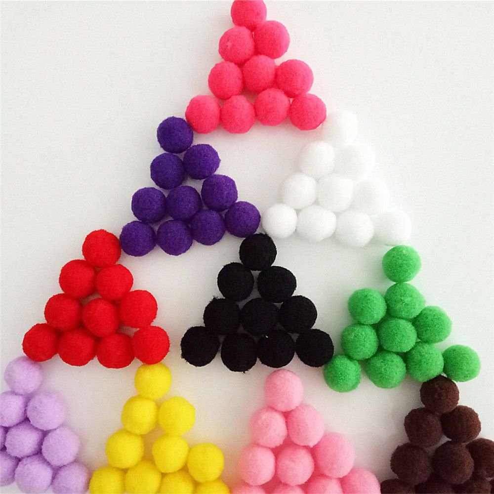 500 Pcs 1 cm//0.39 Inch Pom Poms Small Fluffy Pompom Balls Multicolor Fuzzy Puff Balls Decoration by EORTA for DIY Art Craft Hobby Supplies Handmade Accessories Sewing Black
