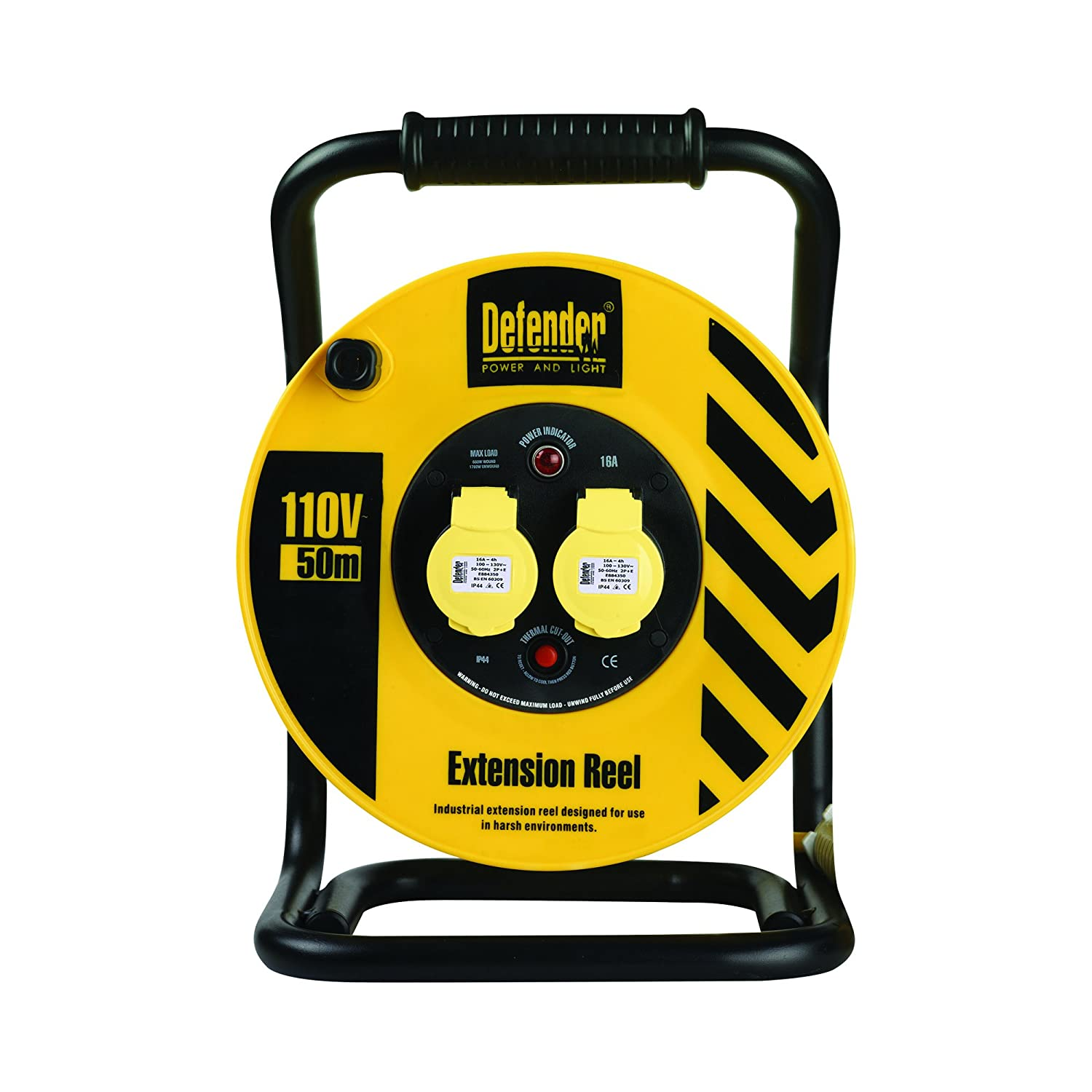 Defender E86510 50M Industrial Trade Cable Reel-16A 2 Way 2.5mm 110V, 110 V, Yellow