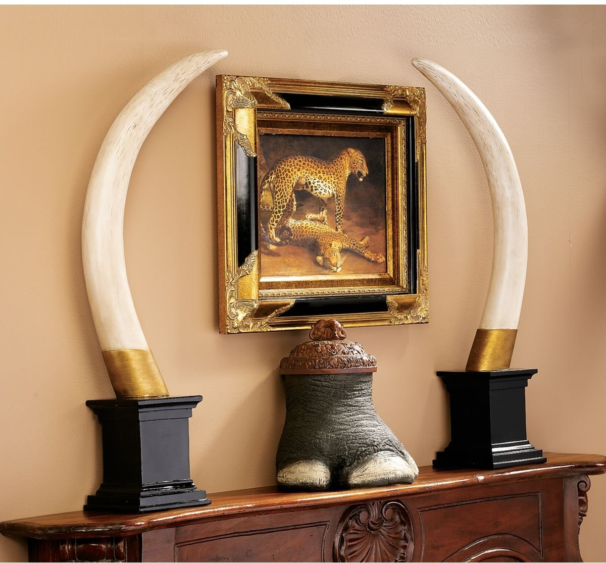 amazon com classic british colonial elephant tusk fireplace