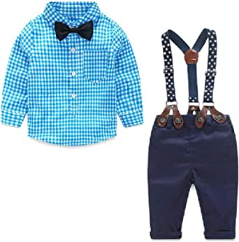 little dragon pig Baby Boy Suit Toddler Gentleman Outfit Plaid Tshirt Suspender Pants Fall Clothes