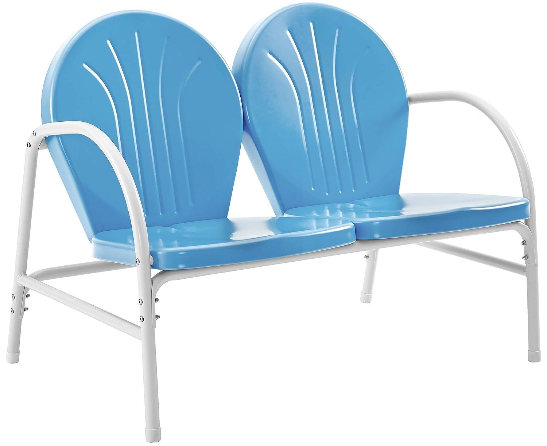 Crosley Furniture Griffith Metal Outdoor Loveseat – Sky Blue