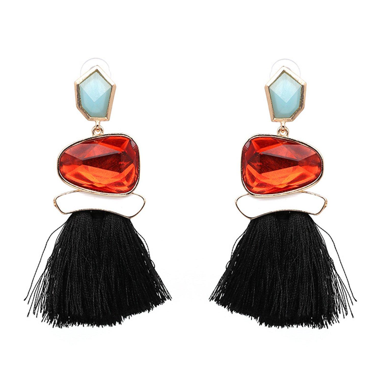 6ccf1fd67 Amazon.com: Women's Crystal Tassel Earrings Drop Fashion Earrings Thread  Dangle Earrings Soriee Drop Earrings (Black): Jewelry
