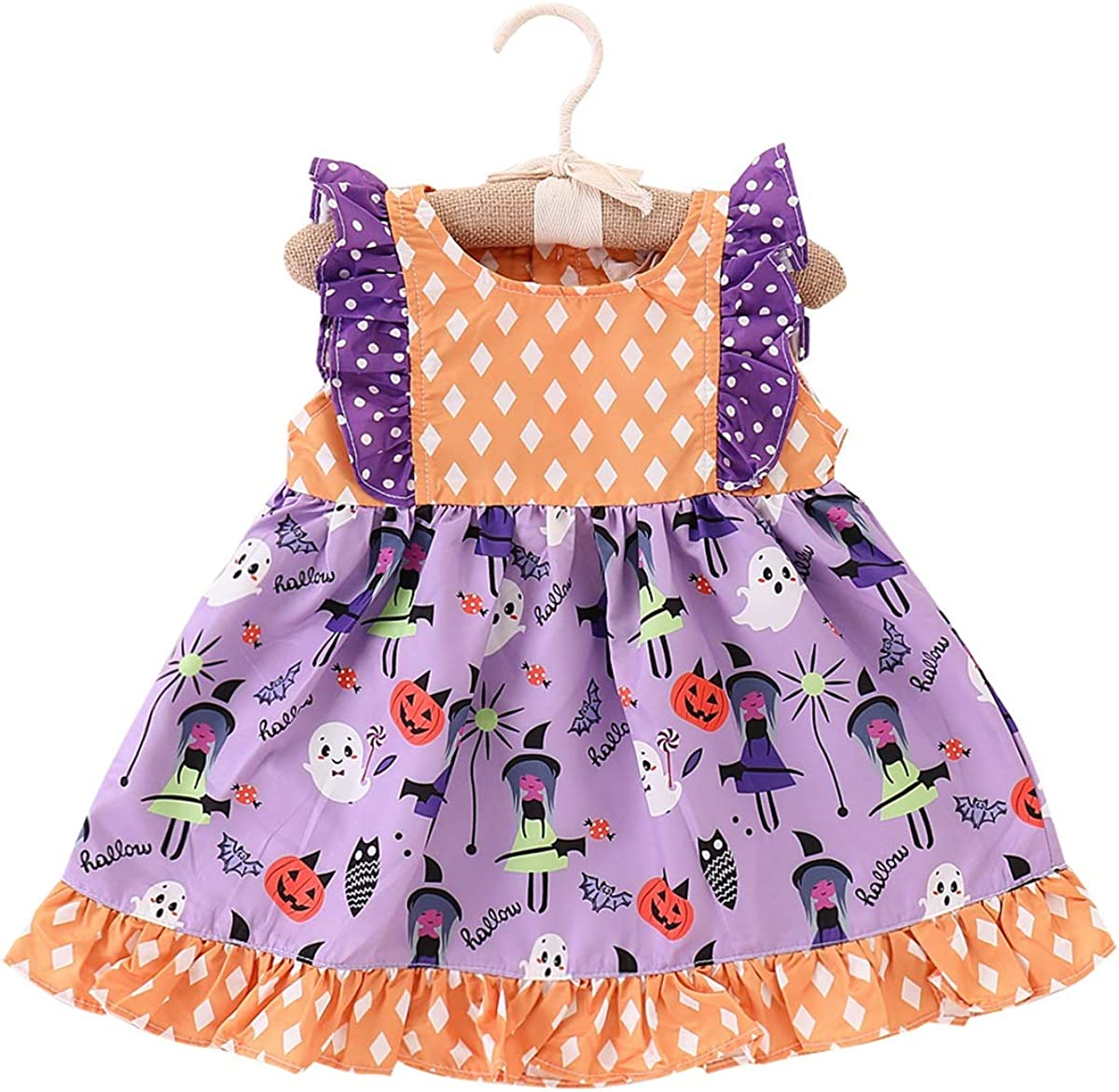 puseky Infant Kid Girls Dress Halloween Summer Party Sleeveless Cute Princess Gown Clothes