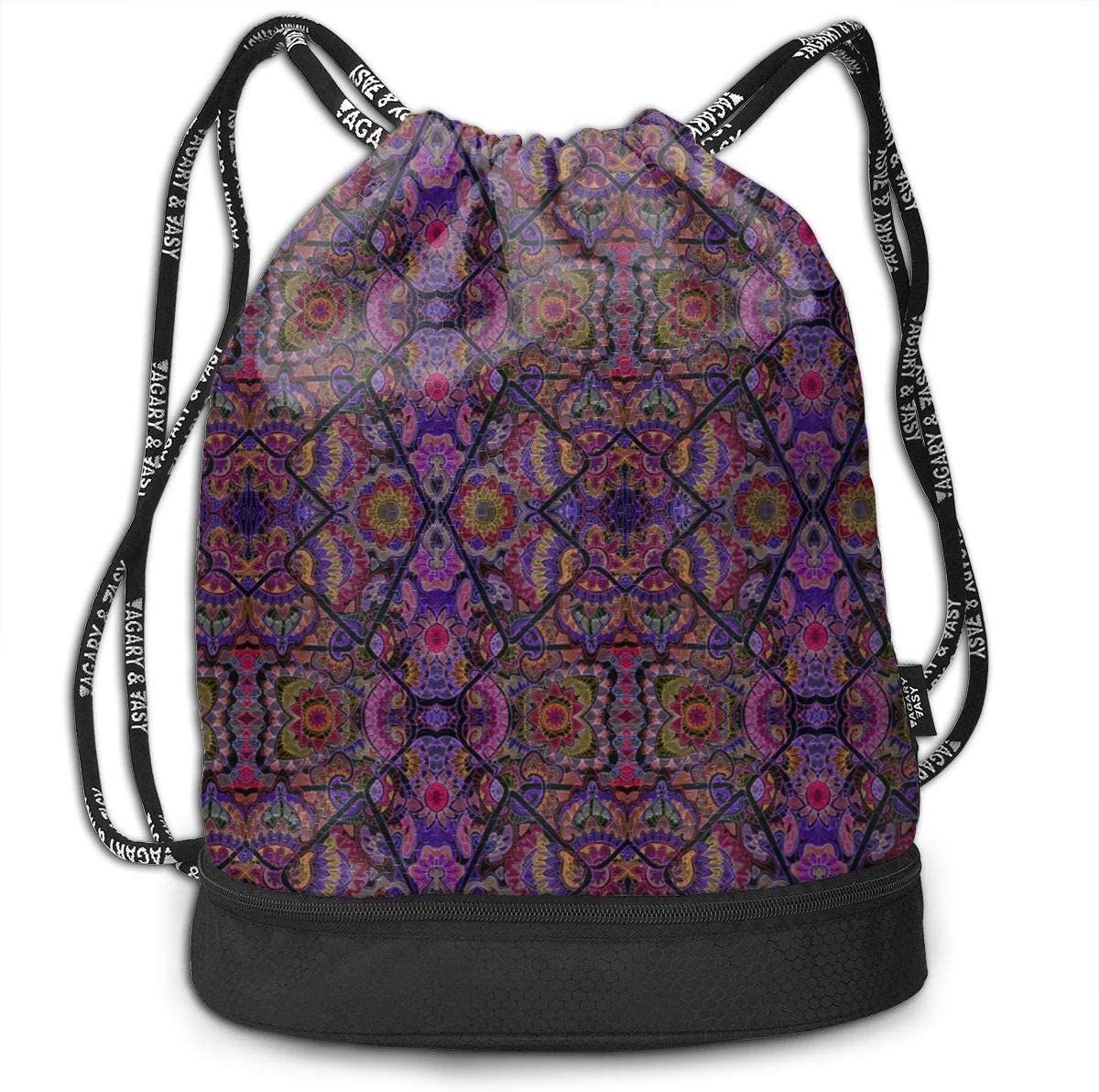 Stained Glass Glow Drawstring Backpack Sports Athletic Gym Cinch Sack String Storage Bags for Hiking Travel Beach
