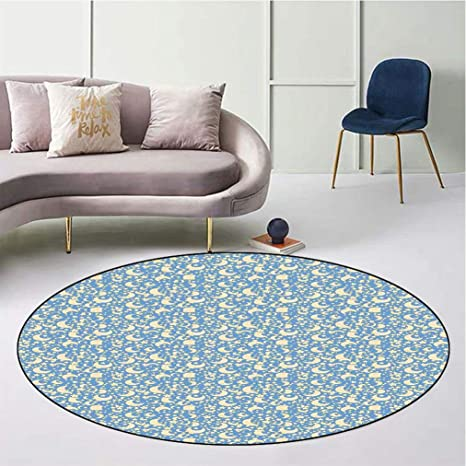 Amazon Com Moon Elegant Round Area Rug Retro Stars And Moons In Different Phases Scattered On Pale Blue Backdrop Washable Carpet For Nursery Living Room Diameter 23 Pale Blue Pale Yellow Kitchen