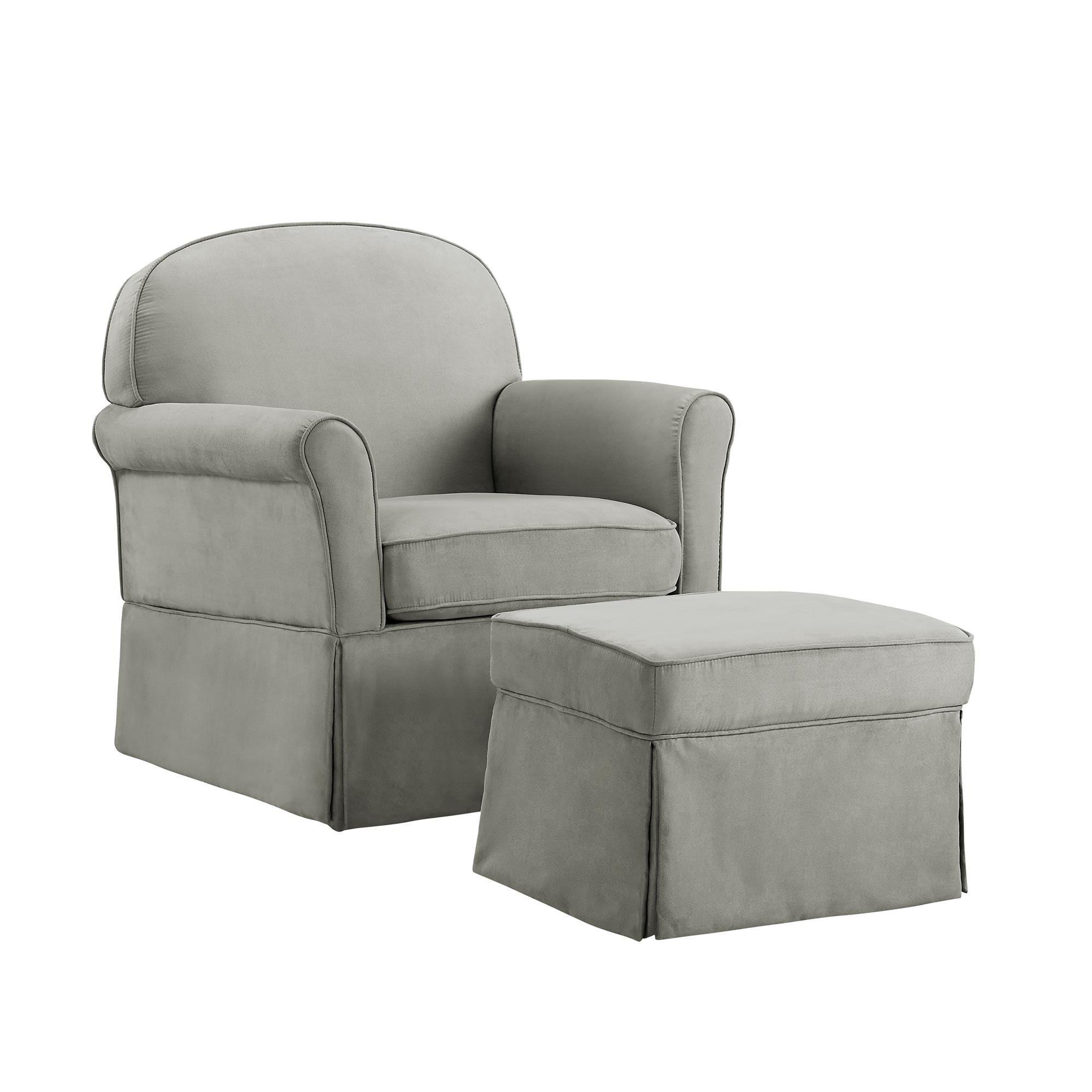 Baby Relax Swivel Glider Chair and Ottoman Set, Light Gray Microfiber by Baby Relax