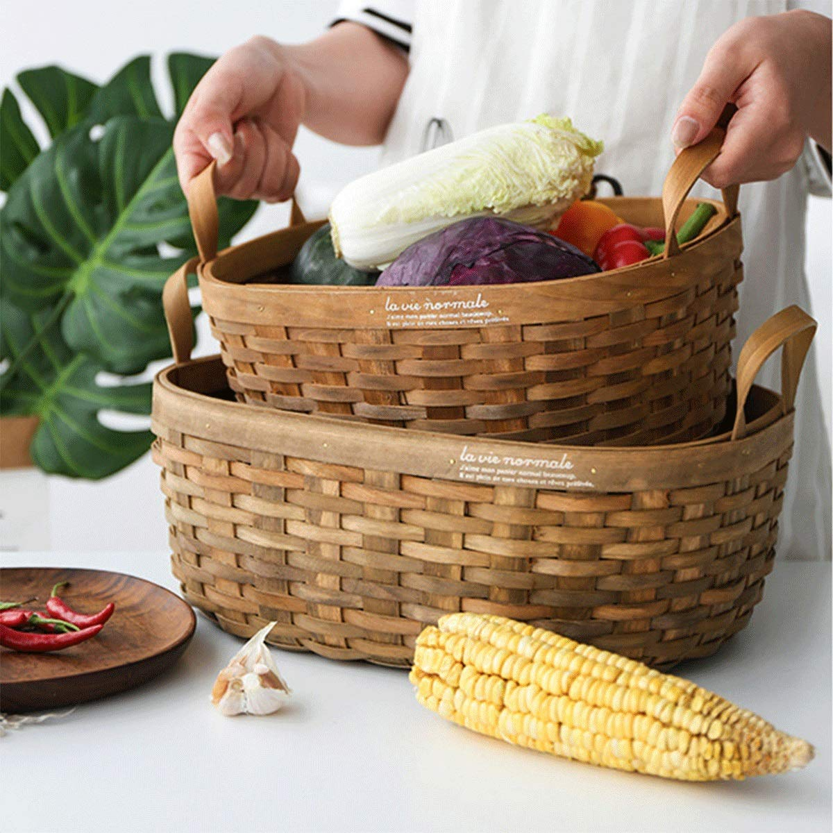 Tongboshi Bread Basket, Hand-Woven Storage Basket (with Handle), Picnic Fruit Bread Basket, Storage Basket, Oval Fruit Basket Three-Piece, Latest Models (Color : 3-Piece Set) by Tongboshi (Image #5)