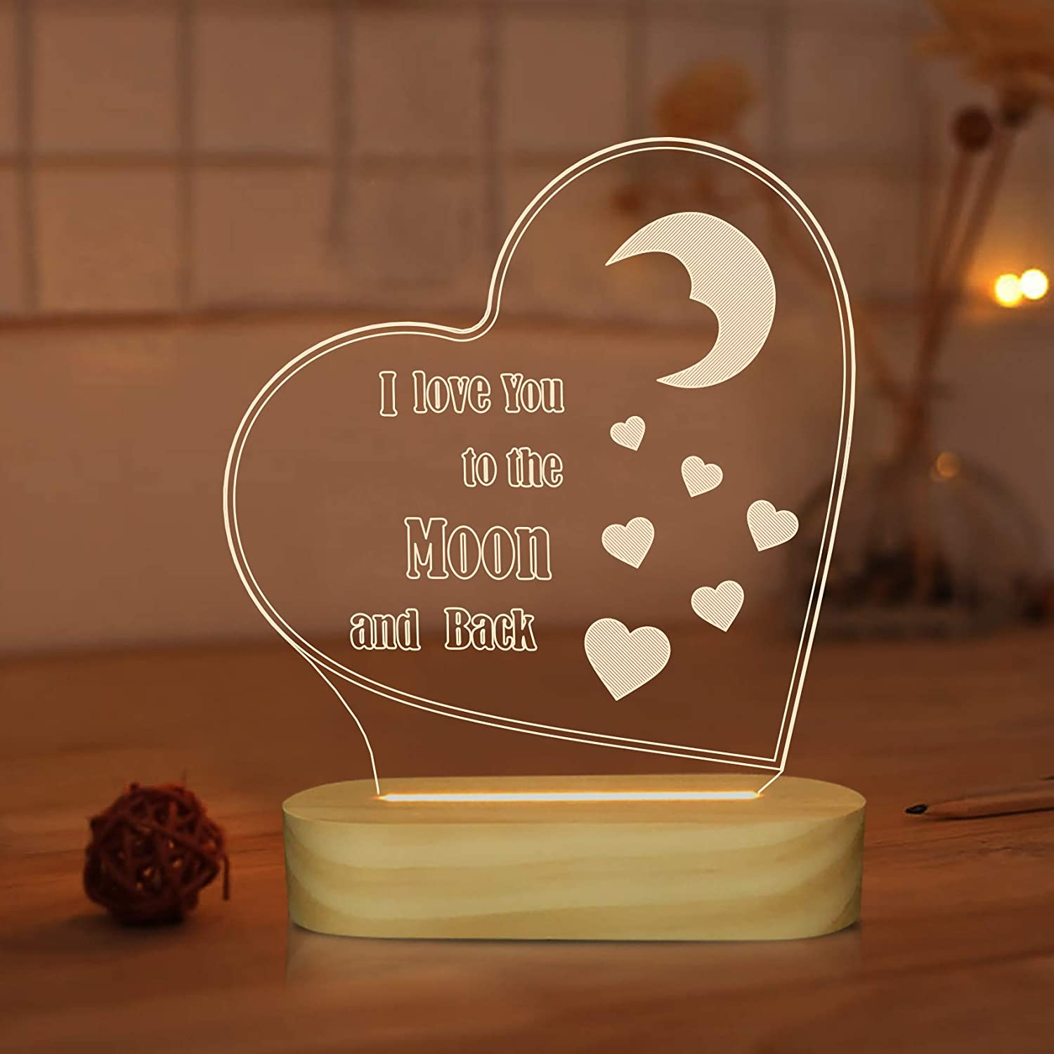 3D Illusion Night Light I Love You to The Moon and Back Table Lamp for Girl Romantic Holiday Gifts Ideas