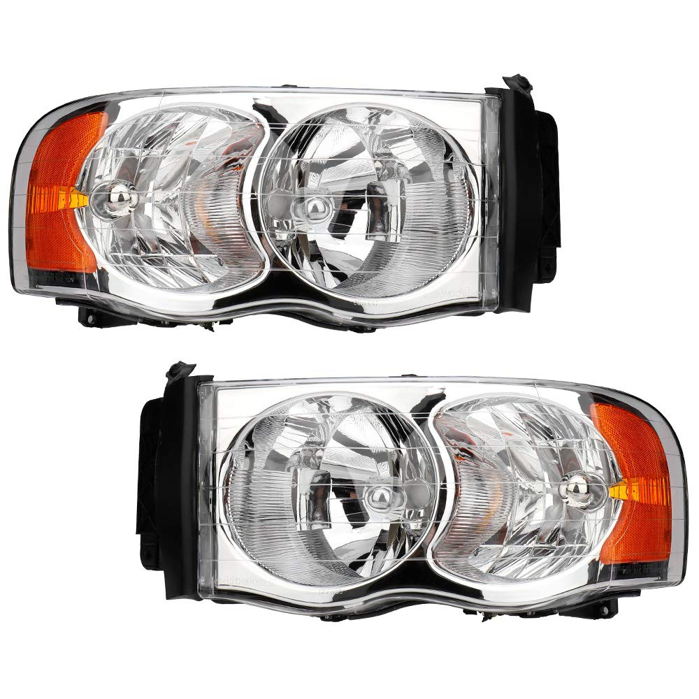 2003-2005 Dodge Ram 2500//3500 Pickup Truck Driving Headlamps Chrome Housing with Amber Reflector Clear Lens IRONTEK Headlight Assembly for 2002-2005 Dodge Ram 1500 Pair