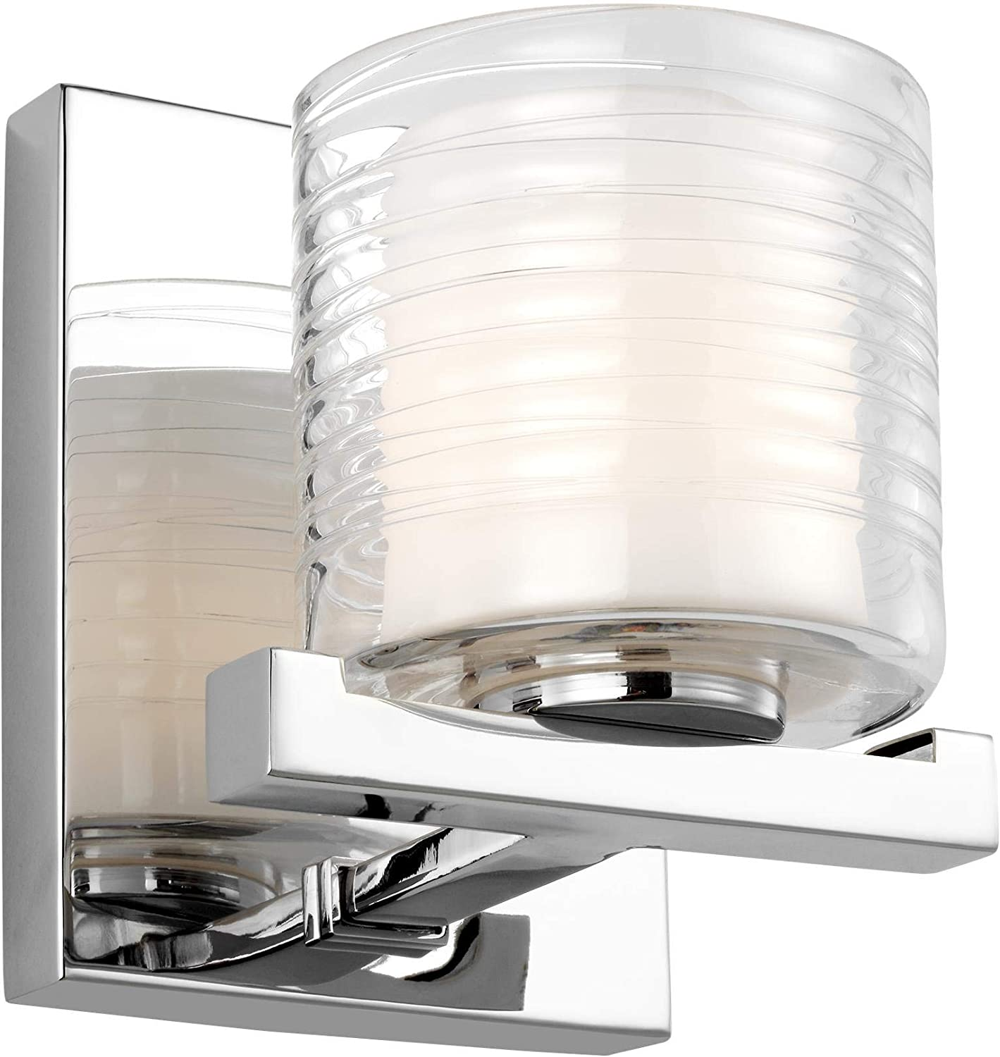 Feiss VS24201CH-L1 Volo LED Glass Wall Sconce Lighting, Chrome, 1-Light 6 W x 7 H
