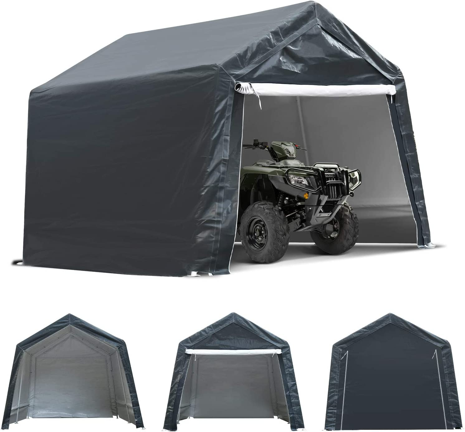 TOOCA 7x12x7.4 Ft Portable Garage Tent Kit Outdoor Carport Canopy Storage Shelter Shed with Detachable Roll-up Zipper Door for Motorcycle Gardening Vehicle ATV Storage, Ultimate Gray