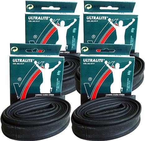 4 x Vittoria Ultralite Presta Valve Inner Tube Black Size 700c x 19//23c 42mm
