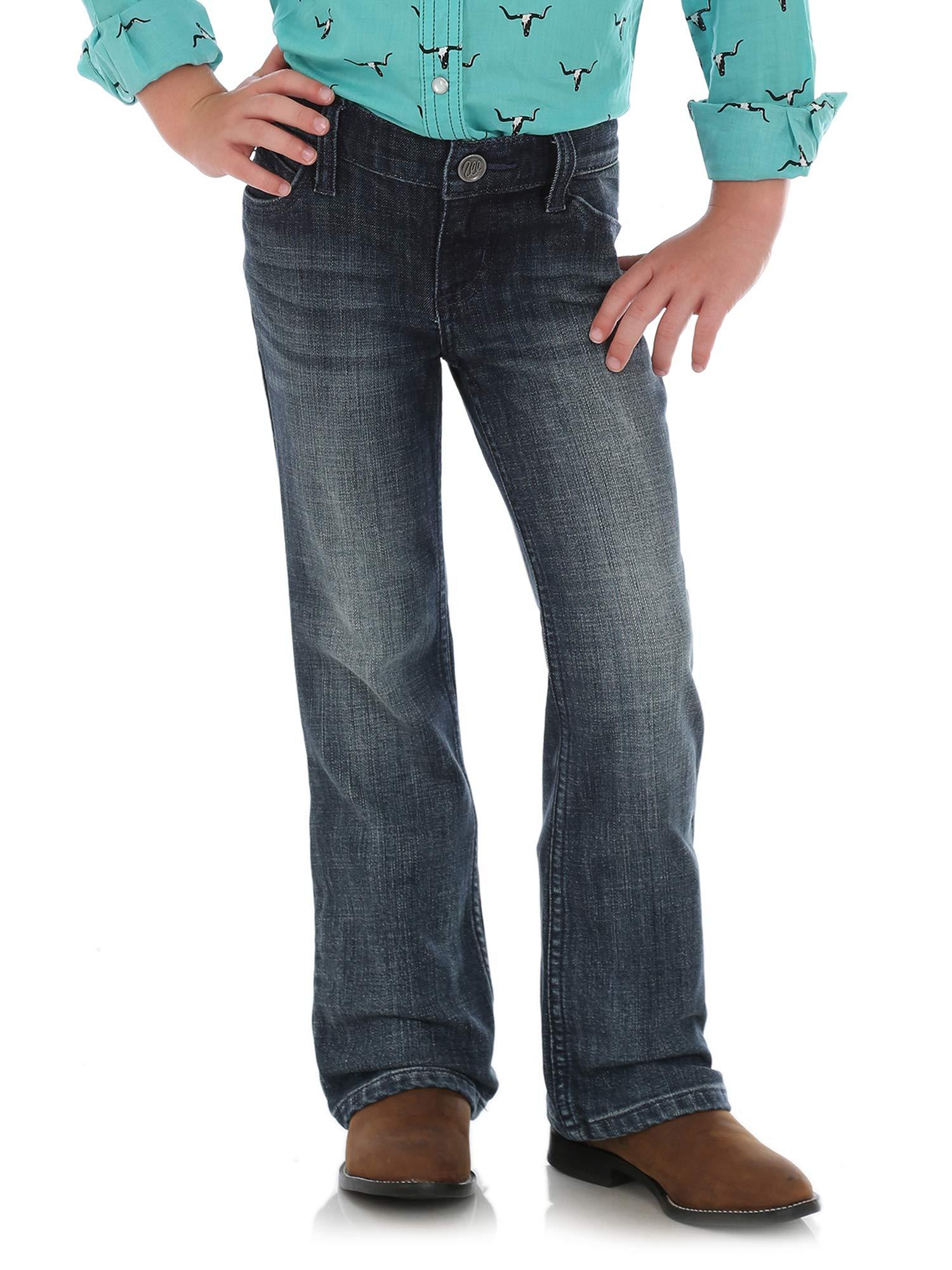 Wrangler Girls' Big Western Boot Cut Jean, Mid Blue, 14 REG by Wrangler