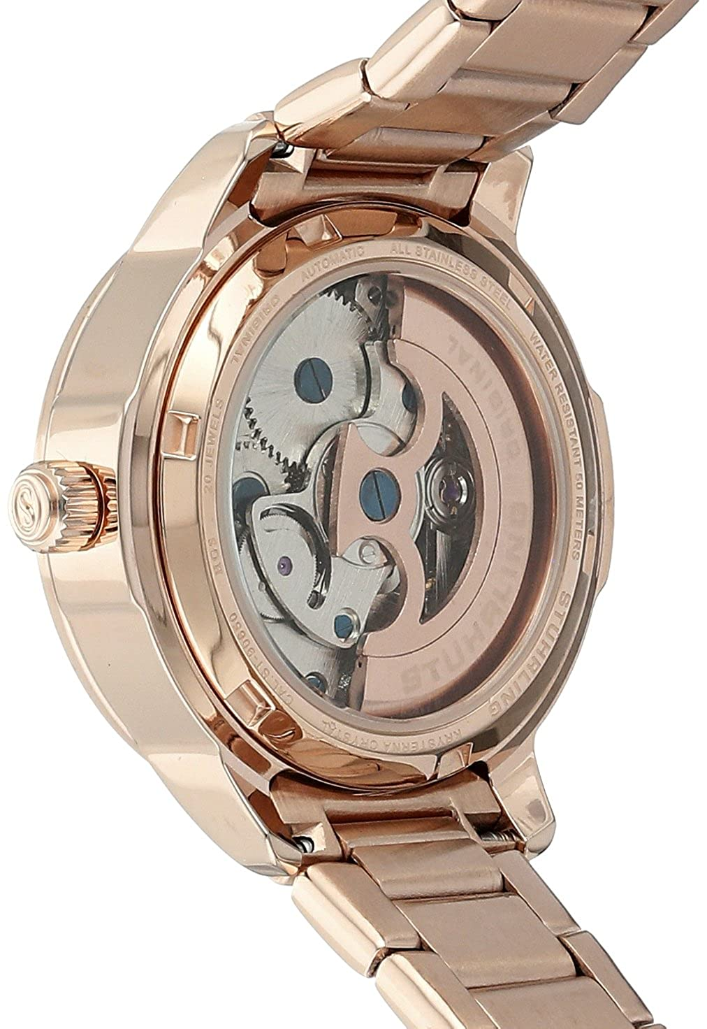Stuhrling Original Womens 49105 Legacy Analog Display Akribos Xxiv Ak499rg Mens Mech Watch Leather Strap Rose Gold Automatic Self Wind Watches