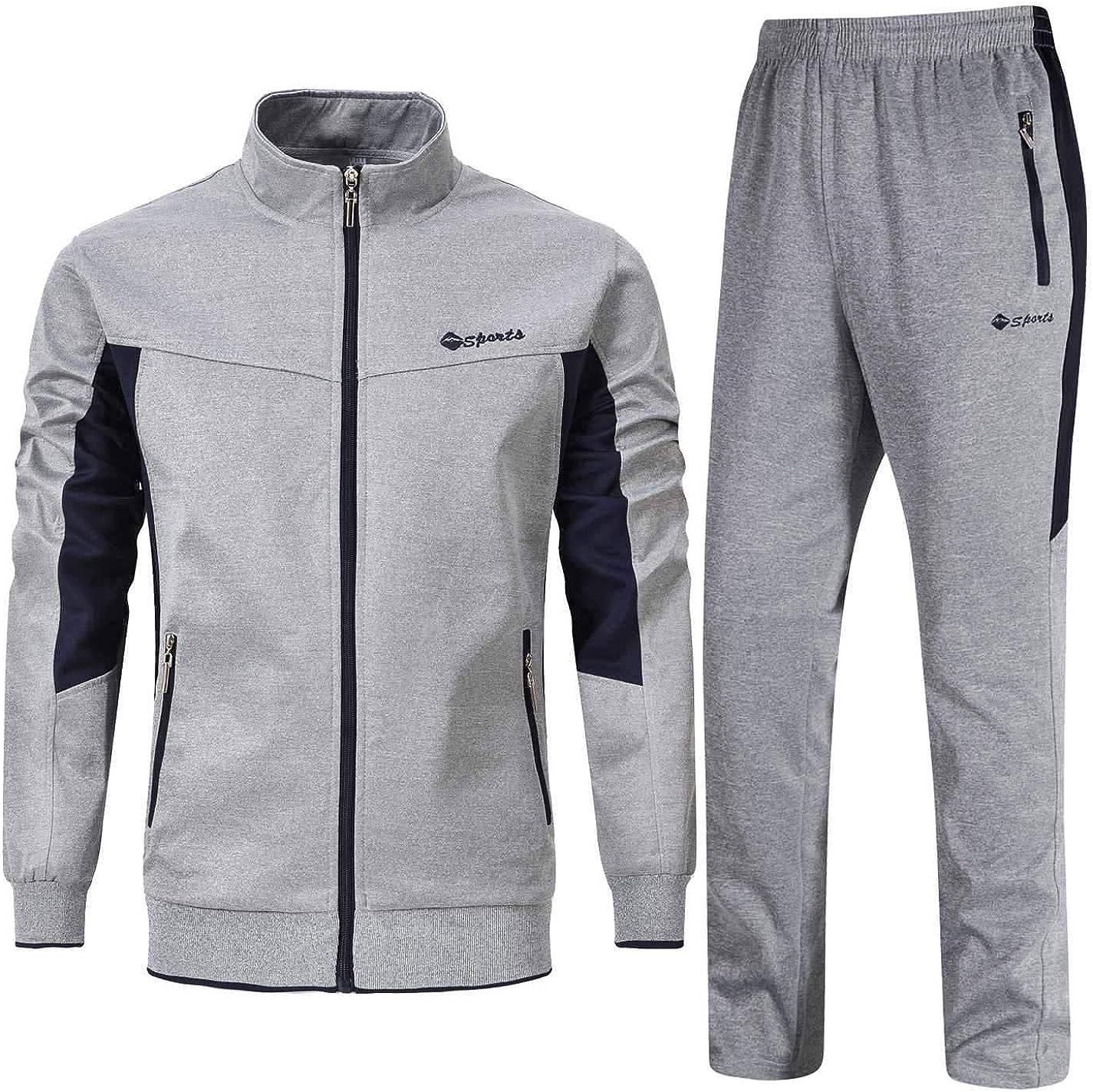 YSENTO Chándal completo para hombre, pantalones de jogging, gimnasio, sudor, cuello alto, pantalones