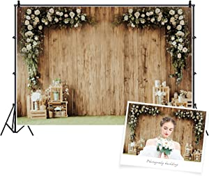 DaShan 7x5ft Polyester Valentine Flower Wall Backdrop Cake Smash 1st Birthday Flower Rustic Wedding Reception Floral Bridal Shower Tea Party Photography Background Engagement Baby Shower Photo Prop