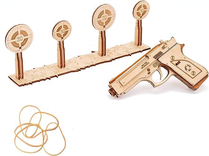 Wooden Puzzle Revolver Rubber Band Gun Puzzle Fun Toys For Children