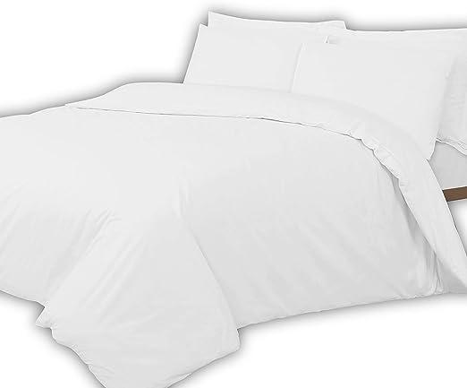 Linen Zone - Sábana de algodón egipcio, 400 hilos, algodón egípcio Lino algodón Satén Poliéster., Blanco, 2 King Size Oxford Pillow Cases: Amazon.es: Hogar