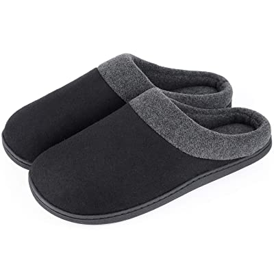 HomeIdeas Men's Woolen Fabric Memory Foam Anti-Slip House Slippers, Autumn Winter Breathable Indoor Shoes | Slippers