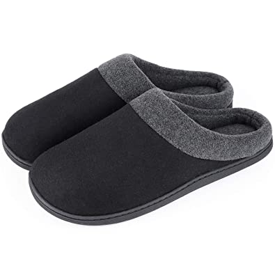 0450fe3350c HomeIdeas Men s Woolen Fabric Memory Foam Anti-Slip House Slippers