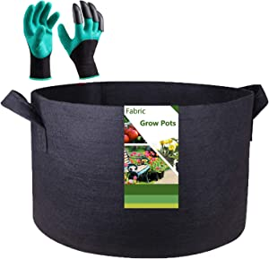 Tespher Professional 100 Gallon Grow Bag Fabric Raised Bed (40x20 inches) with Gardening Gloves, Extra Large Aeration Root Container Round Garden Raised Bed Bag Flower Pot Vegetable Nursery Planter