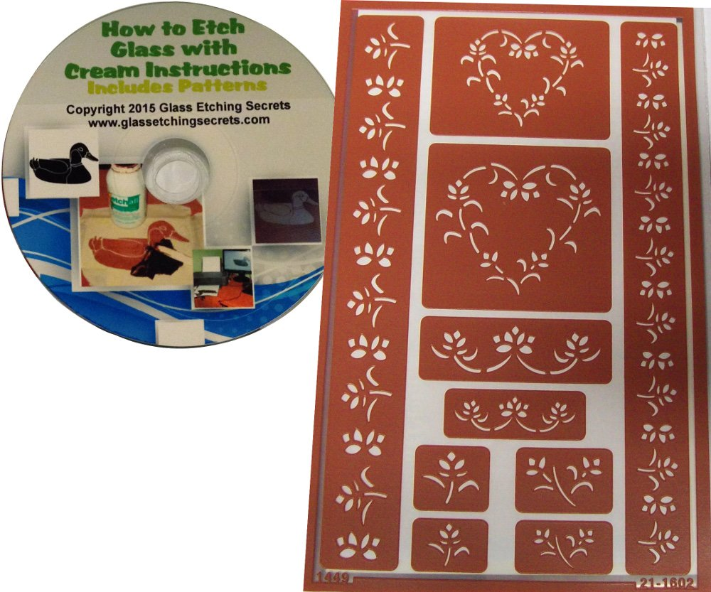 Floral Border Stencils & Heart Shapes, Reusable Adhesive Templates + How to Etch CD Armour Products