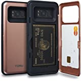 Galaxy S8 Case, TORU [S8 Wallet Case Rose Gold] Dual Layer Hidden Credit Card Holder ID Slot Card Case with Mirror for Samsung Galaxy S8 (2017) - Rose Gold
